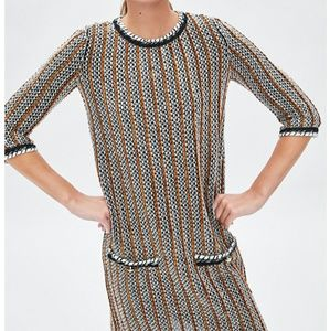 Zara Tweed stripped dress with Pearl Buttons